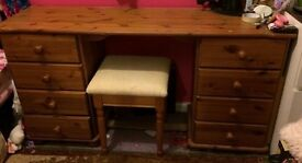 Lovely Pine Dressing Table/Desk with stool