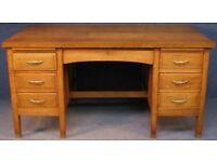 """1930s HEAVY oak desk , stamped OLD BAILEY, LONDON 4foot x 32 """" x 31"""""""