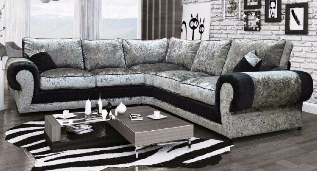Tango Corner Sofa In Crushed Velvet Black Silver 1 Year Warranty Uk Express Delivery