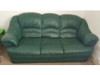 3 seater green sofas and 2 armchairs