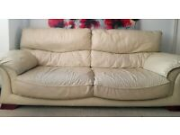 Leather Sofa Off-White 2 Seats