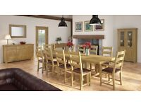 The Massive 10ft Grand Chateau Double Extending Oak Dining Table with 8 chairs IN STOCK NOW