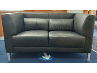 LOVELY DESIGNER 2 SEATER SOFA AND CHAIR - FAUX LEATHER