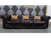 Refurbished Vintage Chesterfield 4 Seater Sofa in Oxblood Leather - Uk Delivery