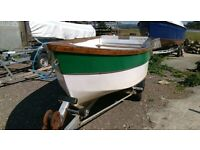 14 ft grp fishing boat with engine and road trailer