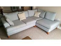 Sky blue corner sofa