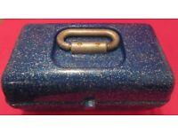 Original Caboodles Blue Glitter Plastic Make Up Storage Box