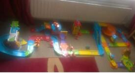 Vtech toot toot train, airport and fire station track set
