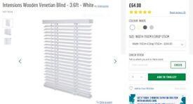 Intensions Wooden Venetian Blind - 3.6ft - White