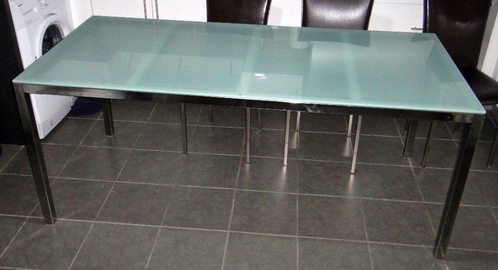 IKEA Torsby Frosted GLASS Top Dining TABLE Chrome 180cm X 85cm Large Good  Condition