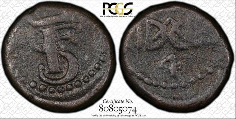 India-Danish-Tranquebar 4 Cash 1763 VF30 PCGS KM#145 Frederik V RARE YEAR