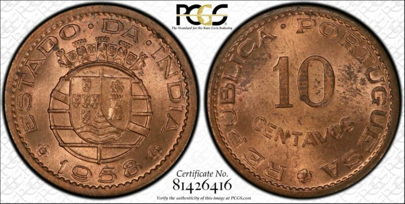 India-Portuguese 10 Centavos 1958 MS64 RD PCGS KM#30 FINEST RED Pop 2/0 RARE RED
