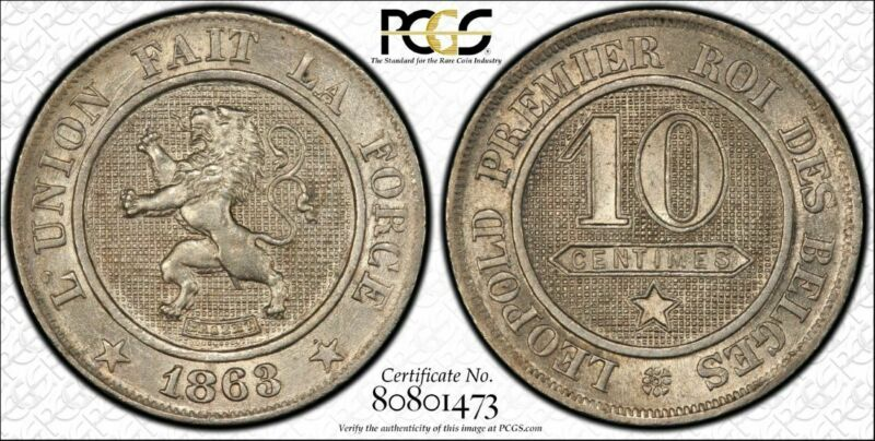 Belgium 10 Centimes 1863 MS65 PCGS copper-nickel KM#21 RARE Condition