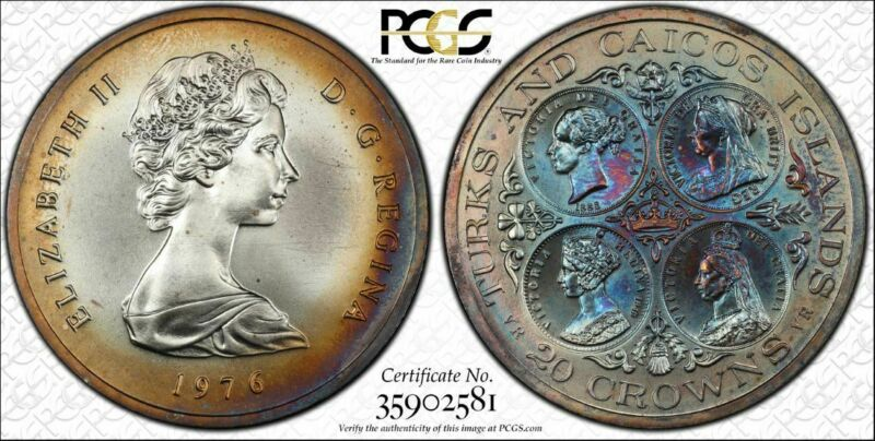 1976 Turks & Caicos Islands 20 Crowns PCGS MS62 Multi Color Toned  Only 3 Higher