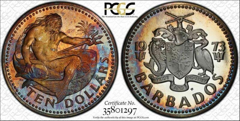 1973-FM Barbados $10 Dollars PCGS PR68DCAM Color Toned Only 1 Graded Higher