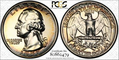 1957 Washington Quarter PCGS PR66  SUPER CLEAN !