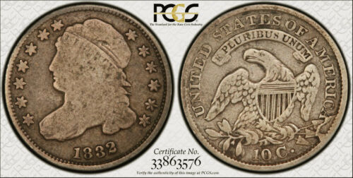 1832 JR-3 Capped Bust Dime graded PCGS VG08... Variety is on the label.