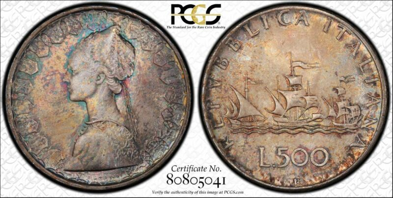 Italy 500 Lire 1958 R MS66 PCGS silver KM#98 Columbus Ship Crackled Pastels