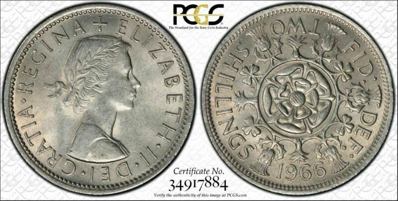 1966 Great Britain Two Shillings PCGS MS 64 Rare Date Top Grade Coin