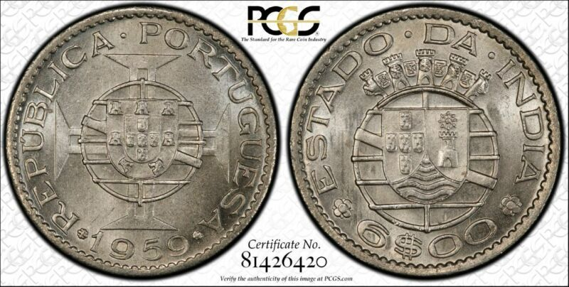 India-Portuguese 6 Escudos 1959 MS65 PCGS KM#35 FINEST & ONLY @PCGS GEM WHITE