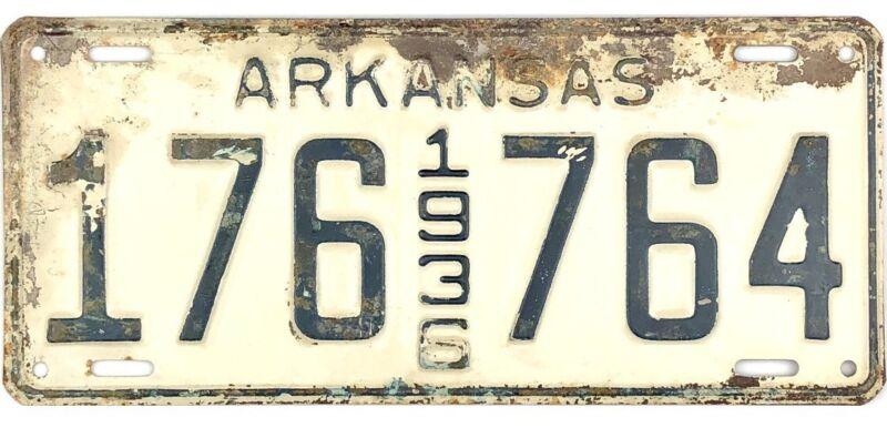 1936 Arkansas License Plate #176-764
