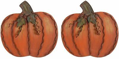 Thanksgiving Outdoor Decor (Metal Pumpkin Harvest Fall Decor S/2 Thanksgiving Halloween Outdoor Yard Decor)