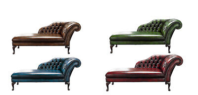 Brand New Handmade Chesterfield Genuine Leather Chaise Lounge Day Bed Antique ()