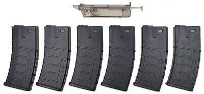 SRC SR4 Auto Electric Airsoft Rifle Magazine Set of 6 with Easy Loader Auto Electric Rifle Magazine