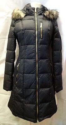 NWT MICHAEL KORS Faux Fur Trim  Women Puffer Coat Hooded Black XL