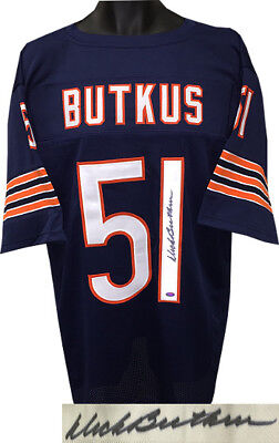 Dick Butkus signed Navy TB Stitched Pro Style Football Jersey XL- Mounted Holo