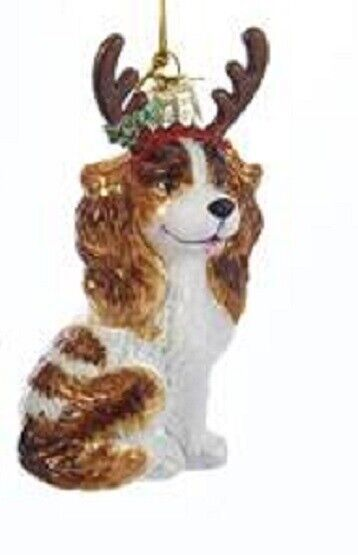 Glass Dog Ornament CAVALIER KING CHARLES RED w/Antlers Christmas Ornament