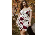 Ladies Plus Size floral split summer dress