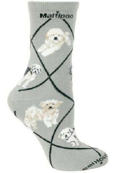 Adult Size Medium MALTIPOO II Adult Socks/Gray USA Made