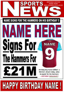 WEST HAM FOOTBALL FAN 'HEADLINE' Personalised Birthday Card!! any name/number!!