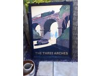 Hand painted vintage pub sign