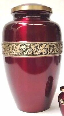 Adult Solid Brass Gorgeous Engraved Funeral Cremation Urn, New Memorial Urn