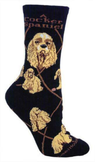 Adult Size Medium COCKER SPANIEL BLONDE Adult Socks/Black RETIRED COLOR