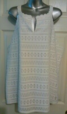 Pappagallo White Crochet Lace Lined Sleeveless Shift Top Tunic Size 1X EUC