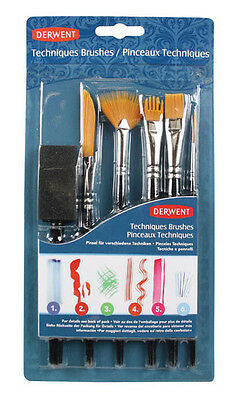 Derwent Techniques Brushes includes Liner Fan Flat Comb Rigger Foam Brush