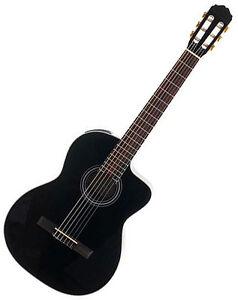 Takamine EG124C Gloss Black Classical Acoustic Electric Cutaway Guitar