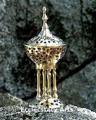 """Brass Byzantine Pedestal Censer Burner 8"""" H, Incense-Resin-Cones-Charcoal {:-)"""