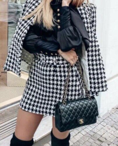 NWOT Zara S Houndstooth Belted Skirt Black White Textured Tw