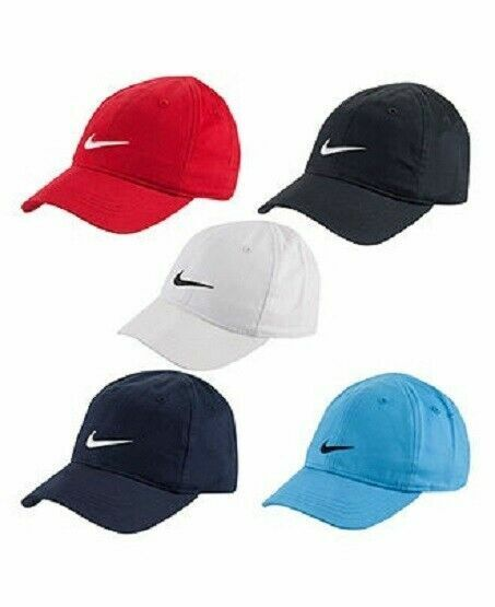 Nike Boys Little Kids Cap, Baseball Hat Size 4-7 Cotton, Black Gray Blue White