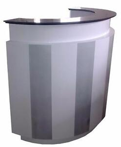 RECEPTION DESK CURVED WHITE & GREY OR BLACK