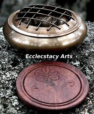 Honey-Dark Brass Incense Burner -Censer w/Coaster Screen Top-Resin-Charcoal-Cone