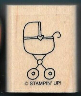 BABY CRADLE Stroller Heart NEW Stampin Up CUTE & CLASSIC wood mount RUBBER STAMP, used for sale  Shipping to India