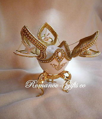 Russian Imperial DOVES of LOVE Music Box Egg & gold Faberge Necklace