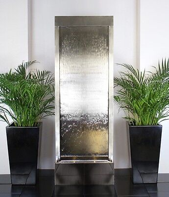 Free Standing Wall Partition Water Feature Fountain Cascade Contemporary Steel