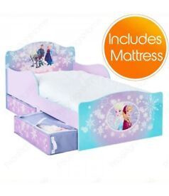 Brand new Frozen toddler bed with mattress and protective side panels and storage