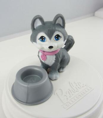 Barbie Pet .. Adorable Puppy DOG Gray White HUSKY Blue Eyes .. with Food Bowl